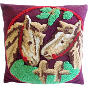 Vintage Folk Art Hooked Pillow With 2 Horses Design