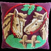 Vintage Folk Art Hooked Pillow With 2 Horses Design