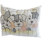 Vintage Embroidered Pillow Depicting 3 Puppies Peering over Fence