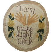 "Vintage Folk Art ""Many Hands Make Light Work"" Hooked Rug"