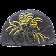 Antique Victorian Folk Art Silk Tea Cozy With Painted Goldenrod Design