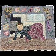 Vintage Folk Art Pictorial Hooked Rug Depicting Woman Scrubbing Floor