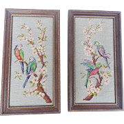 Pair of Vintage Mid 20th Century Needlepoint Pictures Depicting Lovebirds