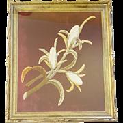 Unique Antique Victorian Folk Art Stumpwork on Velvet of 3 Ears of Corn