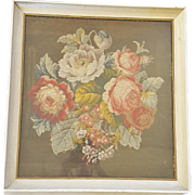 Beautiful Vintage  Needlepoint of Peonies & Other Flowers in White Frame