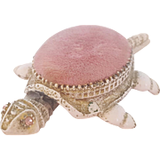 """Vintage Signed """"Florenza"""" Pink Articulated Turtle Pin Cushion"""