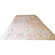 Charming Early 1900's Redwork Summer Quilt Bed Cover