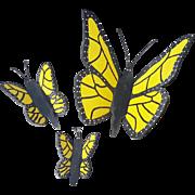 Set of 3 Vintage Folk Art Wall Decor Yellow & Black Butterflies
