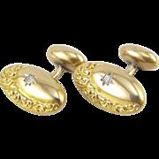 Antique Victorian 14K Yellow Gold Diamond Cufflinks