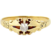 Victorian 14k Gold Mine Cut Diamond Ring