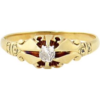 Victorian 14k Gold Mine Cut Diamond Ring