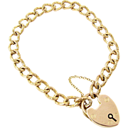 Antique 9k Rose Gold Curb Link Heart Lock Bracelet