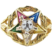 Vintage 10k Yellow Gold Eastern Star Masonic Ring