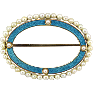 Art Deco 14k Gold Guilloche Enamel & Cultured Pearl Brooch