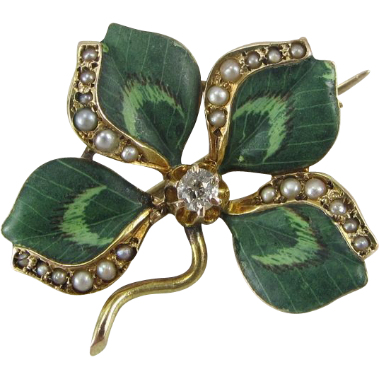 Antique Art Nouveau 14K Gold Enamel Diamond and Seed Pearl Four Leaf Clover Pin