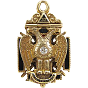 Vintage 14K Yellow Gold Masonic Fob Tri-Fold Enamel Diamond Ruby Pendant Dated 1917