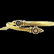 Antique Victorian 14K Gold Diamond and Sapphire Hinged Bangle Bracelet