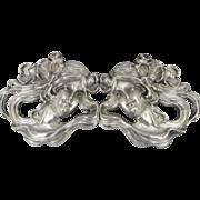 Antique William Kerr Art Nouveau Lady Repousse Sterling Silver Belt Buckle