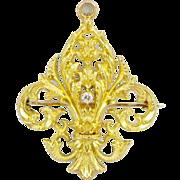 Antique 18k Gold Fleur-de-lis Diamond Pendant Brooch