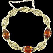 Art Deco 14k Gold Madeira Citrine Filigree Link Bracelet