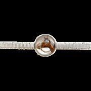 Antique Edwardian Krementz 14K Gold Essex Crystal Horse Bar Pin