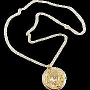 Antique Art Nouveau 14k Yellow Gold Diamond Flower Pendant Necklace