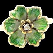 Vintage 14K Yellow Gold Martine Enamel & Diamond Flower Ring Size 7.5