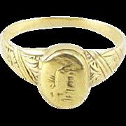 Victorian 14k Gold Locket Ring Horse Equestrian Design Size 6.5