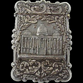 American Castle Top Coin Silver Calling Card Case Leonard & Wilson Circa 1850