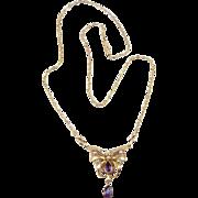 Antique Art Nouveau 9K Rose Gold Amethyst & Seed Pearl Necklace
