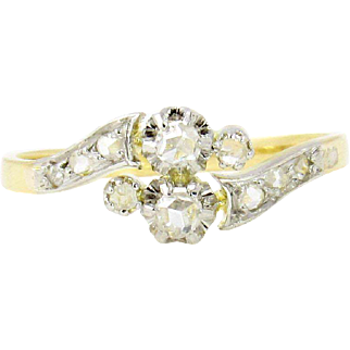 Edwardian 18k Gold & Platinum Rose Cut Diamond Ring