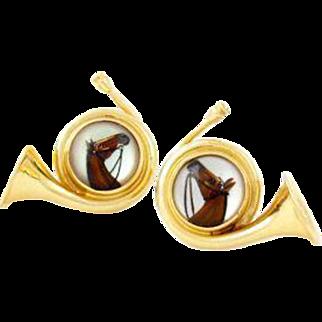 Vintage 14k Gold Essex Crystal Horse Earrings