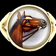 Vintage 14k Gold Essex Crystal Horse Ring