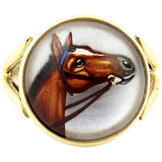 Vintage 14k Gold Essex Crystal Horse Ring