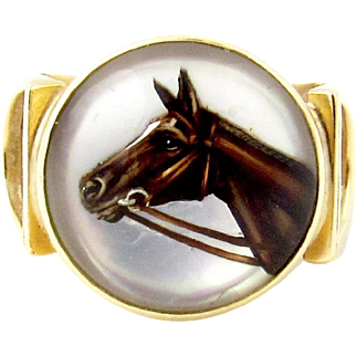 Vintage 14k Yellow Gold Essex Crystal Horse Stirrup Ring