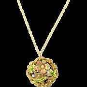 Antique Art Nouveau 14k Gold Enamel Flower Pendant Necklace