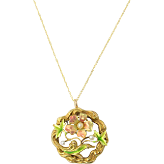 Antique Art Nouveau 14k Gold Enamel Flower Pendant Necklace