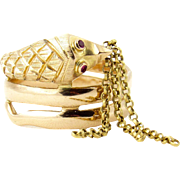 Vintage 18k Rose Gold Tassel Snake Ring with Ruby Eyes
