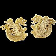 Vintage 14k Yellow Gold Dragon Cufflinks with Diamond Eyes