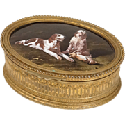 Antique french golden brass casket, with Limoges enamel, late 19th century