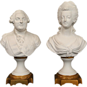 Antique french biscuit pair of busts, Queen Marie-Antoinette and King Louis XVI, 19th century