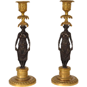 Antique French bronze pair of candlesticks with caryatids, era Napoleonic Empire 19th   century