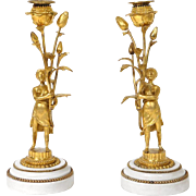 Antique french Louis XVI pair of candlesticks, golden bronze and marble, women with   flowers, 18th century