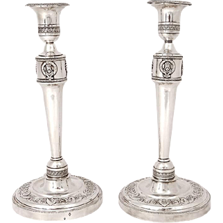 Antique french sterling silver pair of candlesticks, silversmith Bibron, era Napoleonic Empire, 19th century