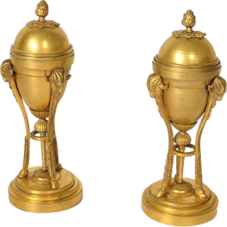 Antique french pair of cassolettes / candlesticks, in golden bronze, 19th century