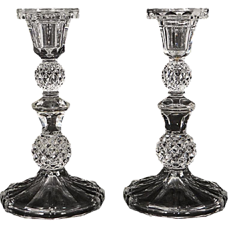 Antique french crystal pair of candlesticks, Baccarat quality, 19th century