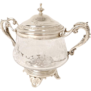 Antique french sterling silver and crystal sugar bowl, Roussel silversmith, era Napoleon III 19th