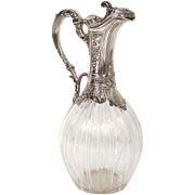 Antique french sterling silver and crystal Louis XV ewer, silversmith Vaguer, 19th century