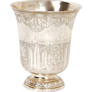 Antique French sterling silver cup, timbale or tumbler, Fermiers Generaux hallmarks, 18th