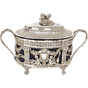 Antique french sterling silver sugar bowl, Fermiers Generaux, 18th century